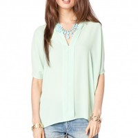 EDEN OPEN NECK TOP IN MINT