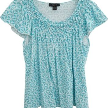Style & Co Blue And White & Size Xl Loose Fitting Green Flutter Sleeve Smocking Scoop Neck Geometric Summer Top 25% off retail