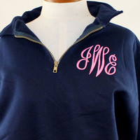 Monogram Sweatshirt 1/4 zip Personalized Preppy by shopmemento