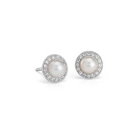 Freshwater Cultured Pearl and White Topaz Halo Earrings in Sterling Silver | Blue Nile