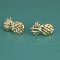 Dainty Gold Filled, Sterling Silver Tiny Pineapple Stud Earrings, Tiny Gold Stud Earrings