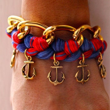 Nautical Woven Chain Bracelet with Anchor Charms by p4pministry