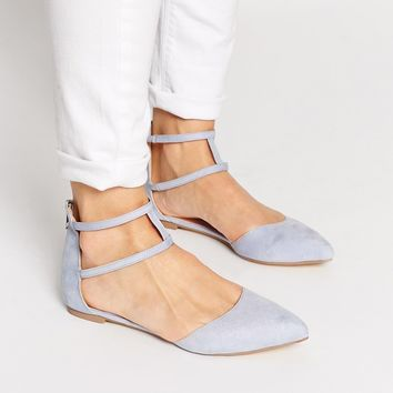 ASOS LOWER Pointed Double Strap Ballet Flats