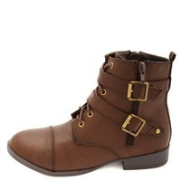 Side-Zip Belted Combat Boots by Charlotte Russe - Brown