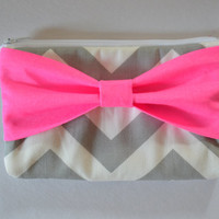 Back to School , Pencil Case , Cosmetic Bag , Travel Pouch , Grey & White Chevron with Neon Pink Bow, Flower Girl Clutches
