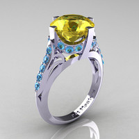 French Vintage 14K White Gold 3.0 CT Yellow Sapphire Blue Topaz Bridal Solitaire Ring R306-14KWGBTYS