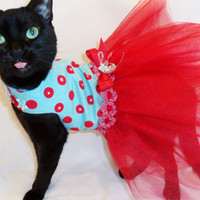 CoolCats Retro Red and Turquoise Polkadot Tutu Harness Cat Dress with Swarovski Crystals