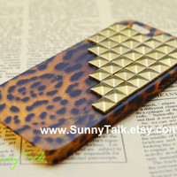 Iphone 5 Case   Bronze studded on Brown Leopard by SunnyTalk
