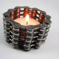 Recycled Bike Chain Tea Light Candle Holder - Tall