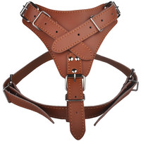 Pet Dog Genuine Leather Harness Fit Medium dogs Color Red Black Brown Red