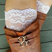 Chamagne floral Lace boot cuff accessories