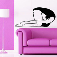 Sport Wall Decals Woman Stretching Pilates Yoga Fitness Gym Vinyl Decal Sticker Home Interior Design Art Mural Girl Nursery Room Decor KG793