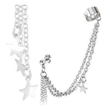 Surgical Stainless Steel CZ Stud Earring With Star Dangles And End Cuff