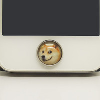 Retro Epoxy Doge Meme Transparent Time Gems Alloy Cell Phone Home Button Sticker Charm for iPhone 4s,4g,5,5c, iPad 2,3,4 iPad Mini