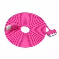 YY Store® [Braid Series] 10ft 3-metre 30-pin USB2.0 Braided Cable For Iphone 4 4s Ipod Touch 4 - Hot Pink