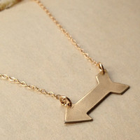 Brass Arrow Necklace, geometric necklace on thin gold fill chain, bow and arrow jewelry
