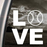 LOVE BASEBALL SOFTBALL White Sticker Decal Bumper Laptop Car White Sticker Decal
