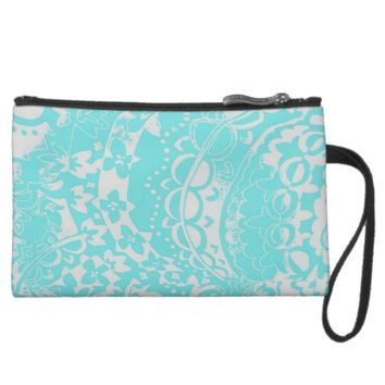 Tiffany Blue and White Floral Print Wristlet