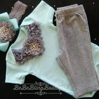 NEWBORN baby girl take home outfit Mint Grey complete shirt pants baby outfit Baby Girl Diva Outfit Baby Girl Shower Gift  Rhinestones Pearl