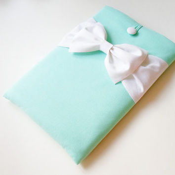 11 inch MacBook Air Sleeve,Exquisite home foryour Laptop,Custom Cover Case,SUPERIOR Shock Absorbent Foam Padding-Light Mint,White Double Bow