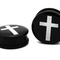 CROSS SINGLE FLARE O RING EAR GAUGES PLUGS inverted upside down crucifix black