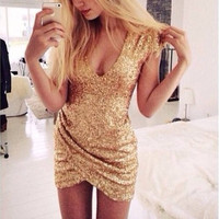 Sexy gold sequins shining party dress