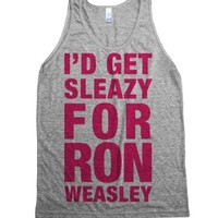 I'd Get Sleazy For Ron Weasley (Pink Tank)-Athletic Grey Tank