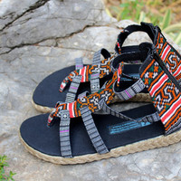 Womens Gladiator Sandals In Hmong Honey Embroidery Summer Shoes Isadora