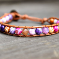 Beaded Leather Single Wrap Stackable Bracelet with Colorful Pink Orange and Purple Agate Beads on Genuine Tan Leather Spring Summer