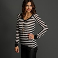Sale-black Tres Chic Stripe Knit Top