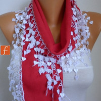 Mother's Day Gift - Red Scarf  -  Pashmina Scarf  -  Cowl Scarf with Lace Edge - fatwoman - LOVE - HEART