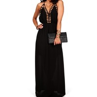 Black Deep Back Cage Maxi Dress