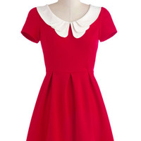 ModCloth Vintage Inspired, Scholastic Mid-length Short Sleeves A-line Looking to Tomorrow Dress in Rouge