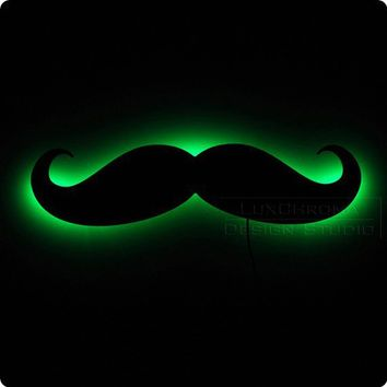 Mustache Wall Light Home Decor Illuminated by LuxChroma on Etsy