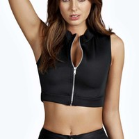 Bethany Turtle Neck Zip Front Crop