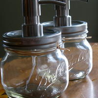 Mason Jar soap dispenser with metal pump. New Pint Ball Elite Jars add modern twist to country farmhouse decor eco friendly