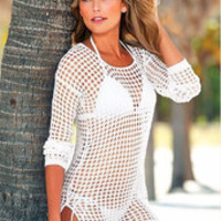 Island Dreams White Crochet Blouse, Swimsuit Cover up.