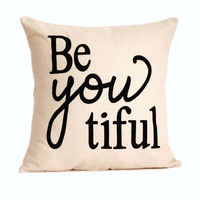 """beYOUtiful Pillow Cover // 16""""x16"""" Pillow Cover"""