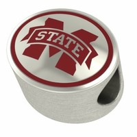 Mississippi State Bulldogs Silver College Jewelry Beads Charms Fits Pandora, Chamilia, Bracelets. Free Shipping