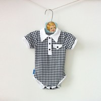 Cotton Jersey Black and White (Small Scale) Houndstooth Onesuit