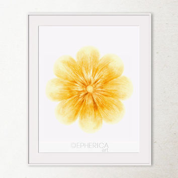 Yellow Flower art print, Yellow decor, Flower wall art, Yellow wall print, Spring decor, Flower decor, Digital Art Printable wall art print
