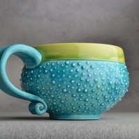 Dottie Mug Made To Order Caribbean Blue by symmetricalpottery