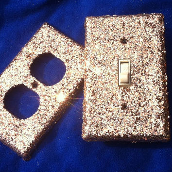 Fawn Colored Glitter Switchplates
