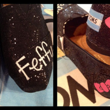 Pink Hello Kitty Custom TOMS on Black by UniquelySouledDesign