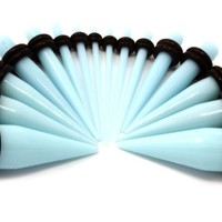 16 Pieces Ear Taper Stretching Kit Baby Blue Acrylic Ear Taper Stretching Kit 14g-00g Ear Expander Set