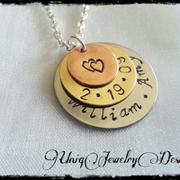 Personalized couples necklace, anniversary necklace, hand stamped jewelry