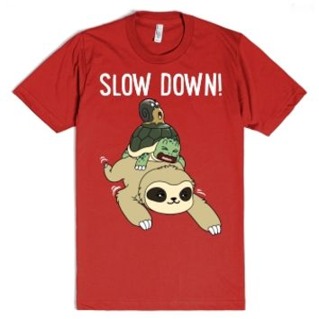 Funny Sloth - Slow Down-Unisex Red T-Shirt