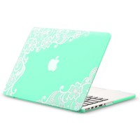 """Kuzy - Retina 13-inch Lace Mint GREEN Rubberized Hard Case for MacBook Pro 13.3"""" with Retina Display A1502 / A1425 (NEWEST VERSION) Shell Cover - Lace Mint Green"""