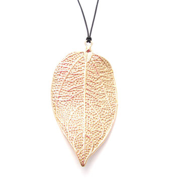 Giant Leaf Leather Necklace