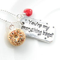 You're my everything bagel fun romantic sterling silver necklace pendant anniversary love gift for wife girlfriend